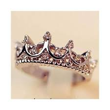crown rings images Princess silver rhinestone queen crown ring size 7 8 9 jpg
