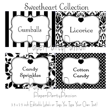 candy buffet printable editable party labels or tags black and