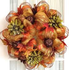 luxurious brown metallic deco mesh fall wreath door or wall decor