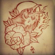 crow tattoo design with flower jpg 640 636 tattoos pinterest