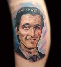 patrick bateman christian bale portrait tattoo american psycho