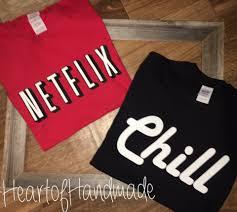 netflix and chill costume couple shirts
