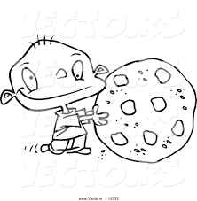 vector cartoon toddler rolling large chocolate chip cookie