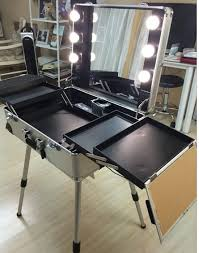 rolling makeup case with lighted mirror professional 4 wheels rolling makeup case cosmetic train case with