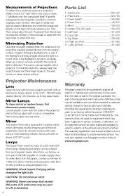 projector maintenance parts list warranty artograph super
