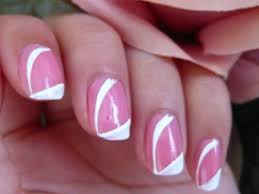 cute easy nail art with pink and white color mixed b e a u t y