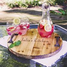 engraved tray custom printed rustic wood trough wine chiller