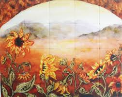 kitchen wall mural ideas sunflower field tile backsplash mural paul studio decobizz com