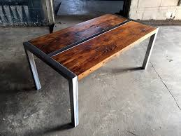 steel and wood table coffee table steel frame with reclaimed wood in walnut stain home