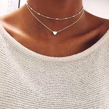 silver pendant choker necklace images Silver gold color love heart pendant necklace short chain layered jpg