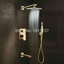Bathroom Shower Handles Gold Brass Rainfall Shower Widespread Waterfall Tub Mixer Tap