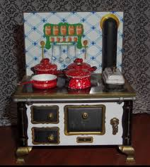miniature dollhouse kitchen furniture schopper west germany doll house tin stove u0026 miniature creamic red