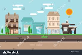 street shop building flat illustration town stock vector 350389979