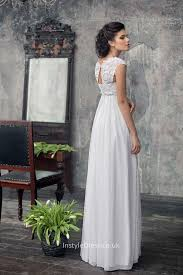Wedding Dress Elegant Elegant A Line Cap Sleeves Empire Waist Lace Chiffon Wedding Dress