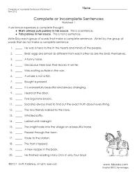incomplete sentences worksheets worksheets