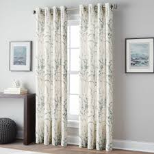 peri home botanical print 108 inch grommet top window curtain panel in blue