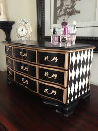 Black And White Furniture Antique Musical Hand Painted Harlequin Black And Gold Jewelry Box