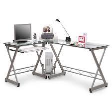 Schreibtisch Mit Glasplatte Sixbros Computerschreibtisch Glas Silbergrau Ct 3802 45