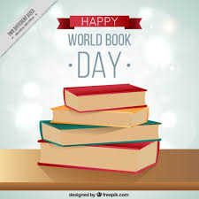 stack books in world book day background vector free