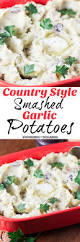 country style smashed garlic potatoes