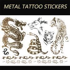 snake tiger tattoo aliexpress com buy j53 2015 new gold temporary tattoo sticker