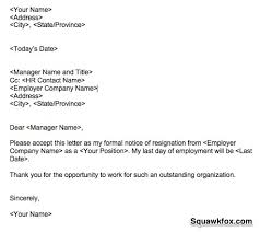resignation letter manager position cover letter sample
