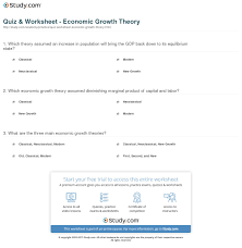 quiz u0026 worksheet economic growth theory study com