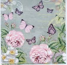 decoupage paper napkins of pastel roses and butterflies