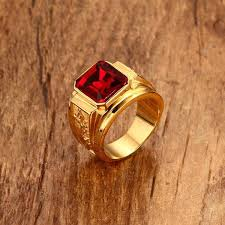 gold stone rings images Mens figment rings gold color red blue stone ring with dragon jpg