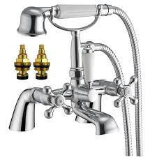 traditional victorian style bath mixer tap with shower and pair of