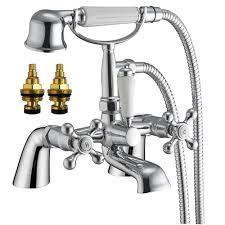 traditional victorian style bath mixer tap with shower and pair of traditional victorian style bath mixer tap with shower and pair of hot and cold basin taps viscount 42 amazon co uk diy tools