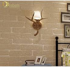mediterranean beige green grey brown embossed brick wall wallpaper