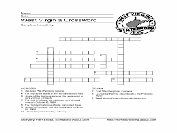 west virginia crossword puzzle 4th 6th grade worksheet lesson