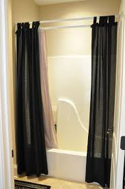 awesome double extra long shower curtain liner with white rod on cream wall pus bathup for