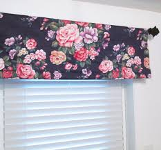 Navy And Pink Curtains Floral Cottage Valance Cabbage Navy Pink Green Vintage