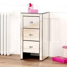 Venetian White Glass Bedroom Furniture Mirrored 3 Drawer Slim Narrow Bedside