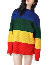 green sweaters color block sleeve sweater shein abaday