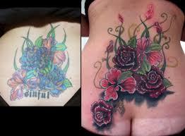 Big Flower Tattoos On - stefano alcantara tattoos nature lower back flower coverup