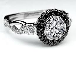 black band engagement rings engagement ring black diamond halo bezel engagement ring twisted