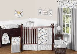 Deer Nursery Bedding Amazon Com Blue Grey And White Woodland Animal Safari Bear Deer