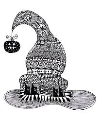 halloween zentangle witch hat halloween coloring pages for