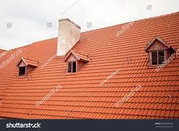 orange roof chimney old renewed orange stock photo 680896576