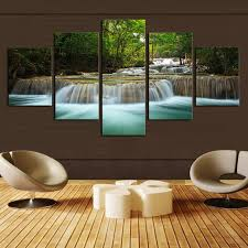 Canvas Home Decor 5 Panel Unique Waterfall Painting Wall Art Canvas For Home
