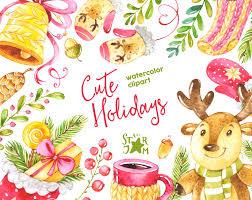 cute holidays watercolor clipart christmas winter deer
