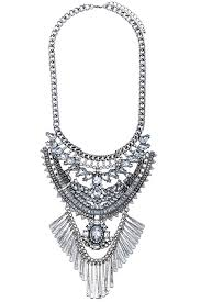 silver flower statement necklace images New arrival jewel encrusted fringe bib necklace jpeg