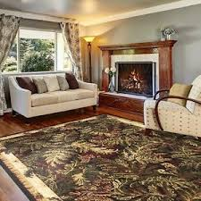 Area Rugs Tropical 5 X 7 Tropical Coastal Area Rug Carpet Black Border