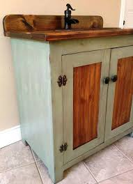 country pine bathroom vanity with hammered copper sink 36 inch
