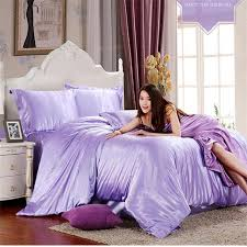 hot100 pure satin polyster silk colorful bedding set home textile