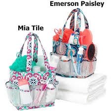 personalized mesh fabric shower bath caddy personalized mesh fabric shower bath caddy personalized shower caddies in emerson paisley and mia tile print pattern options