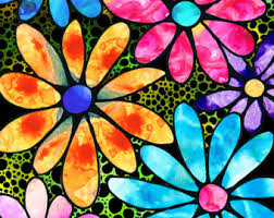 colorful tree of life art print from painting primary colors